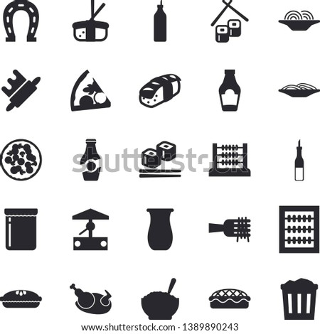 Solid vector icon set - rolling pin flat vector, jugful, ketchup, sauce, spaghetti on a fork, pizza, porridge, pie, chicken, fish rolls, sashimi, jam, mustard, well, horseshoe, abacus, trash can