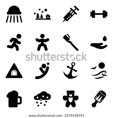 solid vector icon set   shower