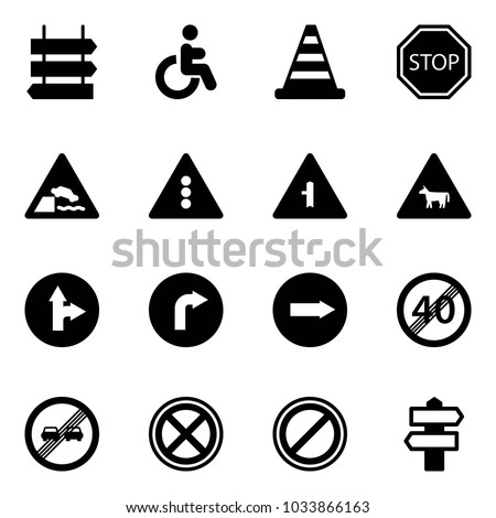 Solid vector icon set - sign post vector, disabled, road cone, stop, embankment, traffic light, intersection, cow, only forward right, end speed limit, overtake, no, parking, signpost