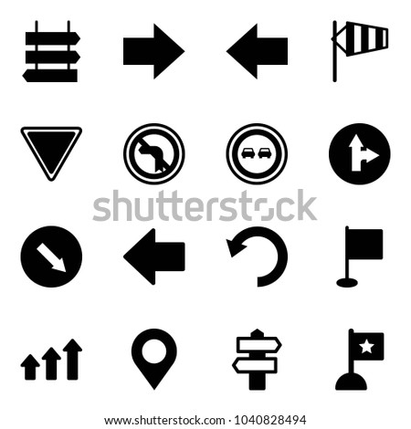 Solid vector icon set - sign post vector, right arrow, left, side wind, giving way road, no turn, overtake, only forward, detour, undo, flag, arrows up, map pin, signpost