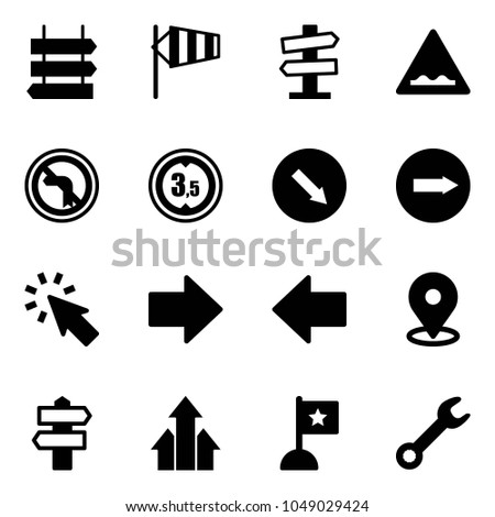 Solid vector icon set - sign post vector, side wind, road signpost, rough, no left turn, limited height, detour, only right, cursor, arrow, map pin, arrows up, flag, wrench