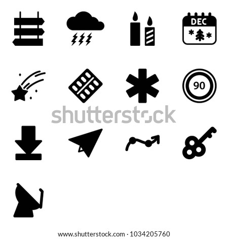 solid vector icon set   sign