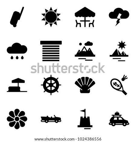 Solid vector icon set - suitcase vector, sun, outdoor cafe, storm, rain cloud, jalousie, mountains, pyramid, inflatable pool, hand wheel, shell, badminton, flower, cabrio, sand castle, car baggage