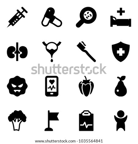 solid vector icon set   syringe