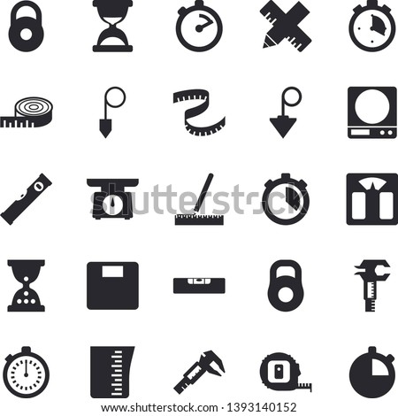 Solid vector icon set - tape measure flat vector, level meter, construction plummet, weighing machine, meashuring cup, stopwatch, trammel, weight, centimeter, hourglass