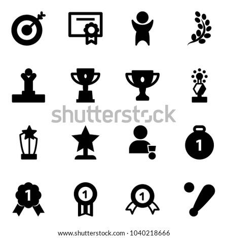 Solid vector icon set - target vector, certificate, success, golden branch, winner, win cup, gold, award, medal, baseball bat