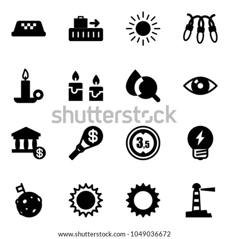 Solid vector icon set - taxi vector, baggage, sun, garland, candle, blood test, eye, account, money torch, limited height road sign, idea, moon flag, lighthouse