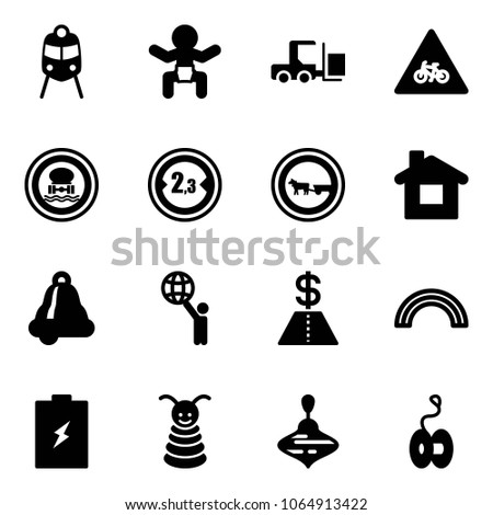 Solid vector icon set - train vector, baby, fork loader, road for moto sign, no dangerous cargo, limited width, cart horse, home, bell, world, dollar, rainbow, battery, pyramid toy, wirligig, yoyo