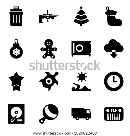 solid vector icon set   trash