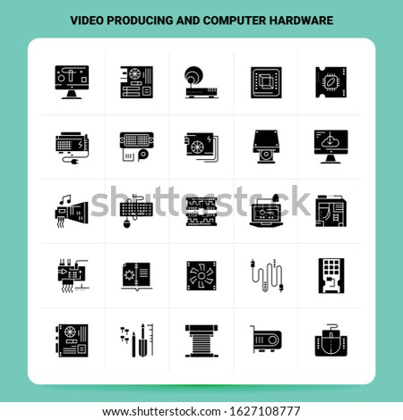 Solid 25 Video Producing And Computer Hardware Icon set. Vector Glyph Style Design Black Icons Set. Web and Mobile Business ideas design Vector Illustration.