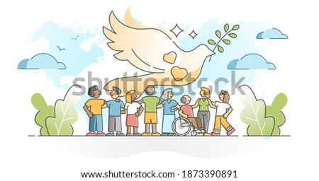 Solidarity as community social group diversity acceptance outline concept. Together as one in peace and unity vector illustration. Dove peace symbol with different orientation, race and ethnic people.
