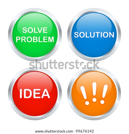 Solution buttons set. Vector illustration
