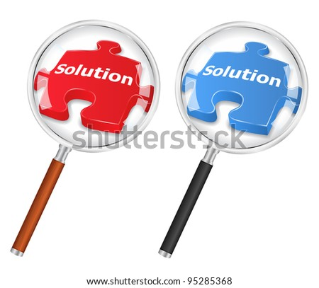 Solution concept with magnifying glass and puzzle piece, vector eps10 illustration