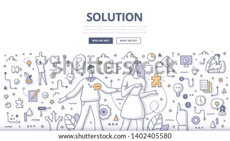Solution concept. Woman giving puzzle piece to man as symbol of problem solving. Decision making process, business strategy and communication concept. Doodle illustration for web banners, hero images