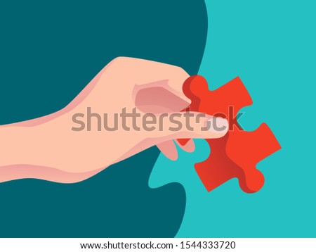 Solution. Hand is holding piece of a jigsaw puzzle. Solutions and problem solving. Flat concept vector illustration for web page, website and mobile