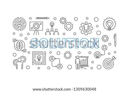 Solution horizontal concept simple illustration in outline style. Vector banner