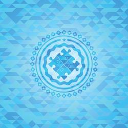 solution icon inside realistic light blue mosaic emblem