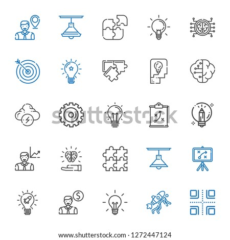 solution icons set. Collection of solution with crossroads, startup, idea, employee, strategy, lamp, puzzle, creative, options, brainstorm. Editable and scalable solution icons.