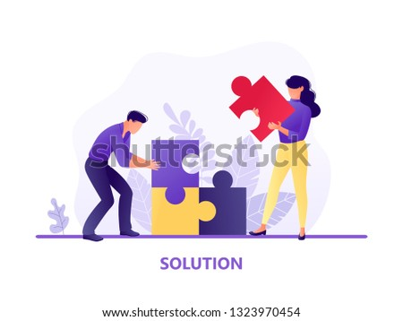 Solution. People fitting together pieces of a jigsaw puzzle. Cooperation and teamwork, solutions and problem solving. Flat concept vector illustration for web page, website and mobile