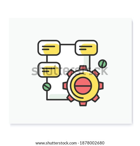 Solution research color icon. Gear line pictogram with project structure. Concept of creative process and technical task solution. Isolated vector illustration for project management and development