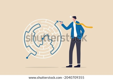 Solution solving business problem, skill and intelligence to overcome difficulty, challenge for leadership concept, smart businessman draw the line showing solution to solve labyrinth maze problem.