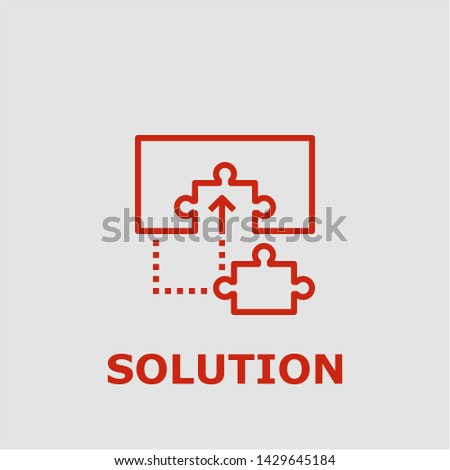 Solution symbol. Outline solution icon. Solution vector illustration for graphic art.