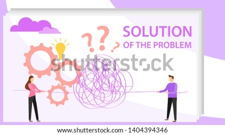 Solution to the problem. People unravel a thread to solve a problem. Vector illustration of a problem solution.