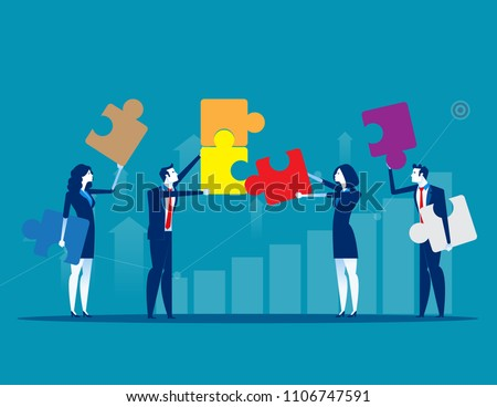 Solutions. Business team and partner working together. Concept business business vector illustration, Flat business cartoon design, Achievement, presentation.
