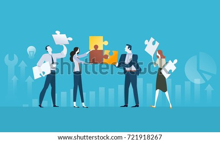 Solutions. Flat design business people concept. Vector illustration concept for web banner, business presentation, advertising material.