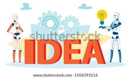Solutions Searching Ai Algorithms Vector Concept. Innovations, Ideas in Robotics, Bionics Sphere Cartoon Illustration. Machines Developing Humanoid Features, Thoughts, Free Will Metaphor