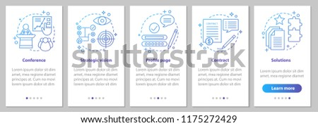 Solutions searching onboarding mobile app page screen with linear concepts. Conference, strategic vision, profile page, contract steps instructions. UX, UI, GUI vector template with illustrations