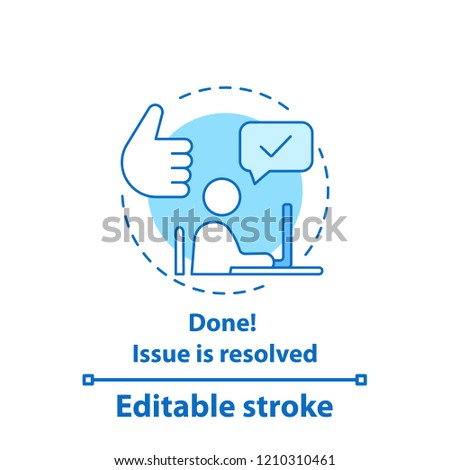 Solved problem concept icon. Resolved issue. Done idea thin line illustration. Successfully completed. Vector isolated outline drawing. Editable stroke