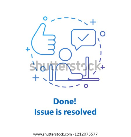 Solved problem concept icon. Resolved issue. Done idea thin line illustration. Successfully completed. Vector isolated outline drawing Foto d'archivio ©