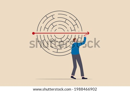 Solving business problem, creativity or imagination to think about solution, strategy and planning to business success concept, businessman solve labyrinth or maze puzzle by straight line arrow.