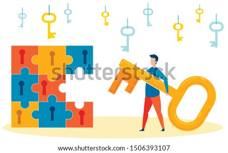 Solving Life Problems Gradually Illustration. Young Man Dealing with Hardships Slowly, One by One Cartoon. Big Jigsaw Puzzle with Missing Pieces and Keyholes. Difficulties in Life For Young Adults Сток-фото ©