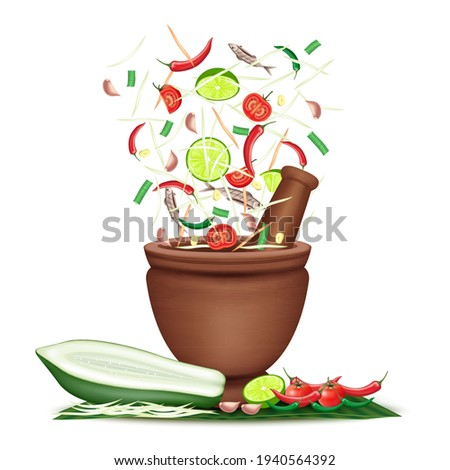 Som Tum Thai food, Green Papaya salad and spices pepper, tomato, lemon and garlic on banana leaf white background. Vector EPS10 Illustration  Zdjęcia stock ©
