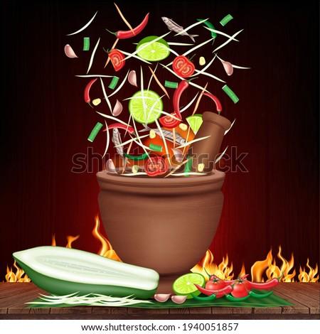 Som Tum Thai food, Green Papaya salad  in a mortar splashing explosion and spices pepper, tomato, lemon and garlic on banana leaf. Fire burning black background. 3D Vector EPS10 Illustration. Zdjęcia stock ©
