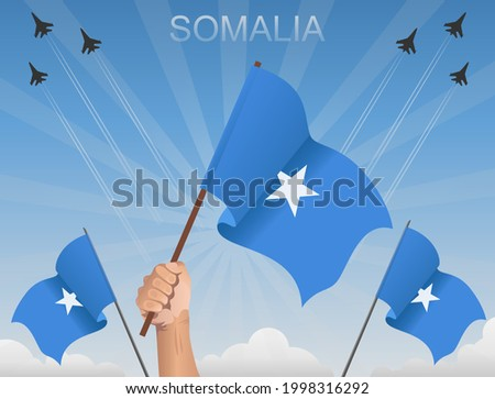 Somali flags flying under the blue sky Zdjęcia stock ©