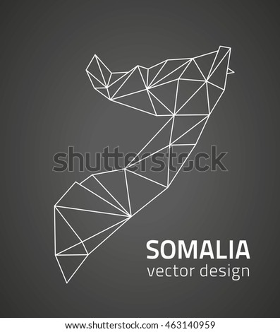 Somalia black vector contour map