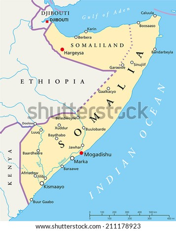 somalia political map with