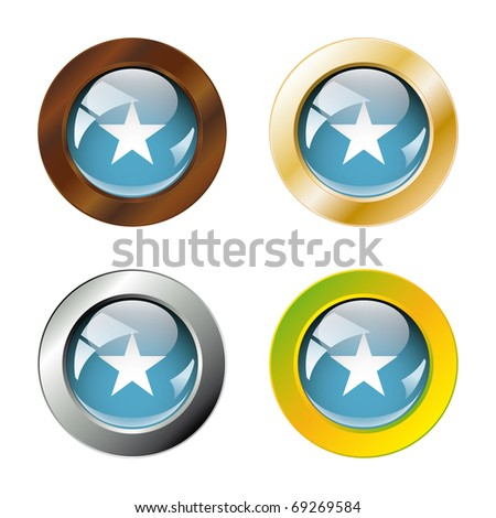 Somalia shiny buttons flag with metal ring vector illustration. Isolated abstract object against white background.