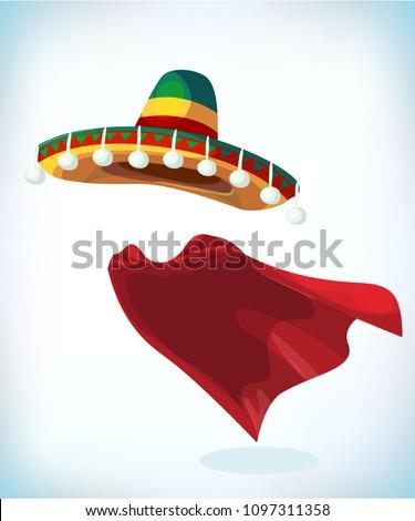 Sombrero Mexican hat. Masquerade costume headdress. Carnival or Halloween mask. Cartoon mascot Vector illustration. Funny super hero flying with cloak. Stock fotó ©