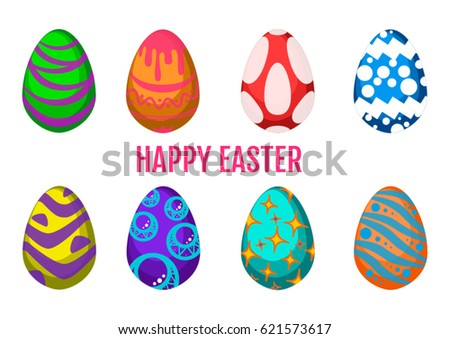 Some different easter eggs vector #621573617