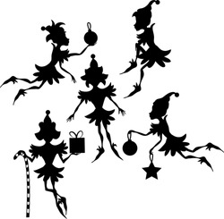Some elves silhouettes isolated on white background