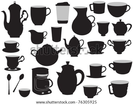 Coffee Pot Drawing Drawing Set of Coffee Pots