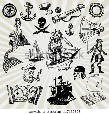 Some Illustration on Adventures Theme Hand Drawn