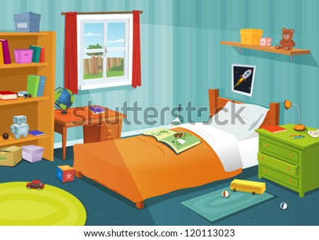 Some Kid Bedroom/ Illustration of a cartoon children bedroom with boy or girl lifestyle elements, toys, bed, books, desk, bookshelf, teddy bear