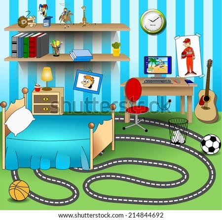 Some Kid Bedroom Vector Art Image Llustration Of A Cartoon Children Room With Boy Or Girl