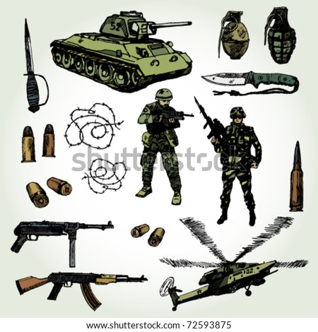 Some Military Things Colorful Hand Drawn