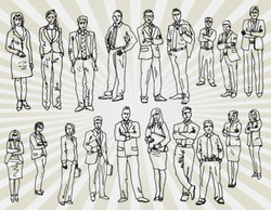 Some Office People Hand Drawn